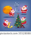 Collection of cartoon vector Santa Claus icons 35528088