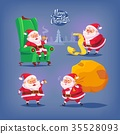 Collection of cartoon vector Santa Claus icons 35528093