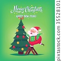 Cute cartoon Santa Claus decorating Christmas tree 35528101