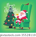 Cute cartoon Santa Claus sitting in chair drinking 35528110