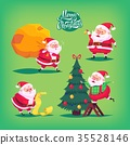 Collection of cartoon vector Santa Claus icons 35528146