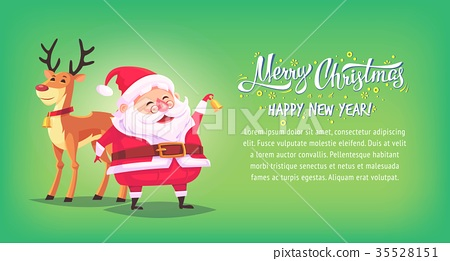 Cute cartoon Santa Claus ringing bell with 35528151