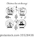 Hand drawn doodle vector. Christmas line art 35528436