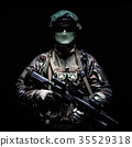 French paratrooper with weapons 35529318