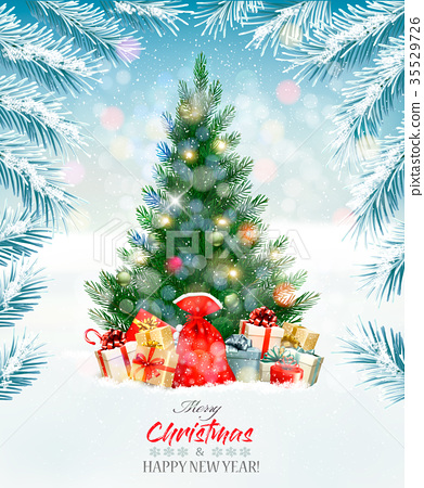 Holiday background with a Christmas tree 35529726