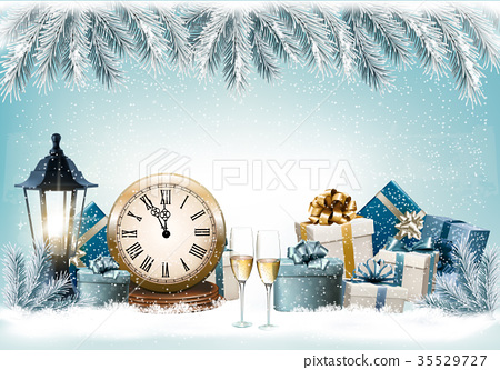 Holiday Christmas background with a gift boxes 35529727