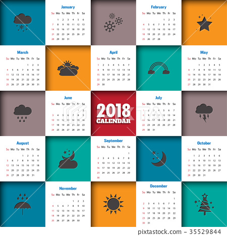 2018 Modern calendar template .Vector/illustration 35529844