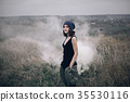 Portrait of romantic girl in a field autumn life 35530116