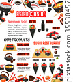Vector menu for Japanese food sushi bar restaurant 35530457