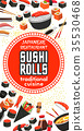 Vector poster of Japanese sushi cuisine restaurant 35530468