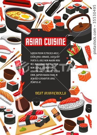 Vector poster for Japanese sushi Asian restaurant 35530495