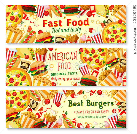 Vector fast food burgers restaurant banners 35530499