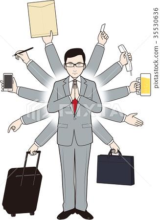Thousand handed businessman 35530636