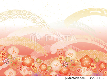 Japanese pattern pale one red plum 35531157