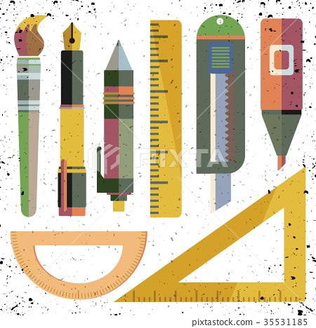 flat icon, illustration of stationery set isolated 35531185