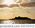 gunkanjima, sunset, marine 35534342