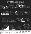 mini van crash and accidents icons set 35536262