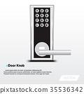 Electronic security door knop, Modern design 35536342