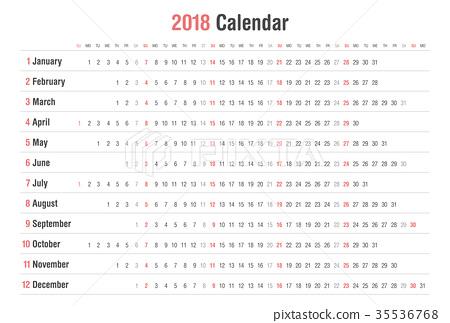 calendar 2018 landscape vector design 35536768