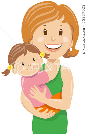 happy young woman holding little girl baby 35537025