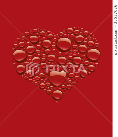 many red water drops creating heart shape 35537026