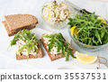 Chicken salad and arugula sandwiches 35537531