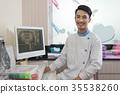 Male dentist crossing armin dental clinic 35538260