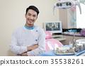 Male dentist crossing armin dental clinic 35538261