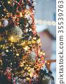 Decorated and illuminated christmas tree 35539763