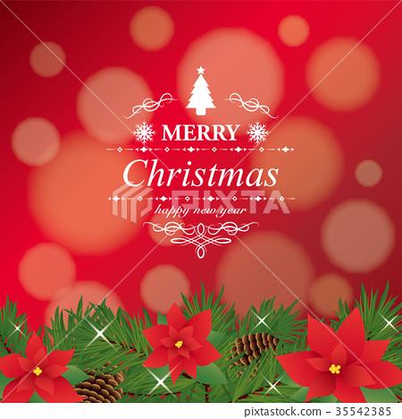 一品紅聖誕卡片 35542385