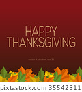 Thanksgiving vector background with fallen leaves 35542811