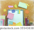 Crayon Drawing; Colorful Balloons and Notes  35543638