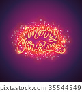 Merry Christmas Colorful Poster with Magic 35544549