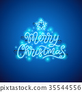 Merry Christmas Blue Neon Sign 35544556
