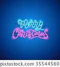Merry Christmas Blue Pink Neon Sign 35544560