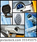 Collage of closeup security CCTV camera 35545075