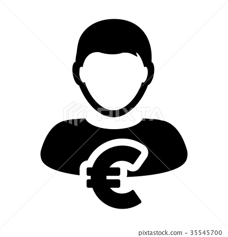 Euro Sign Icon Vector Symbol Currency Person Stock Illustration