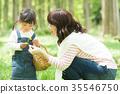 พ่อแม่และเด็กเล่นในสวนสาธารณะ 35546750