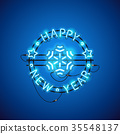 Happy New Year Blue Neon Sign 35548137