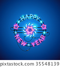 Happy New Year Blue Pink Neon Sign 35548139