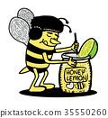 Bee mixing honey lemon. character Illustration. 35550260