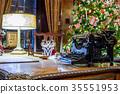 Retro Christmas interior with old typewriter 35551953