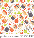 Seamless pattern with  traditional  Japanese Fans 35553497