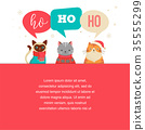 Merry Christmas greeting card, poster with cute cats characters, vector collection 35555299