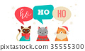 Merry Christmas greeting, banner with cute cats characters, vector collection. 35555300