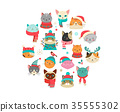 Merry Christmas greetings with cute cats characters, vector collection. 35555302