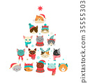 Merry Christmas greeting card with cute Xmas tree with cats heads. 35555303