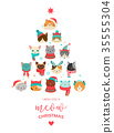 Merry Christmas greeting card with cute Xmas tree with cats heads. 35555304