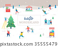 Winter sport scene, Christmas street event, festival and fair, with people, families make fun 35555479
