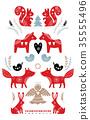 Scandinavian style Christmas banner, background 35555496